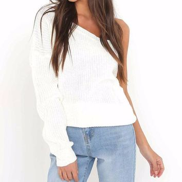 Chic One-Sleeved Knit Jumper