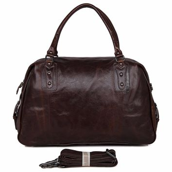 "JMD Vintage Genuine Men's Classic Travel Luggage Handbag Cross Body Duffle Bag Huge 17""  7071C"