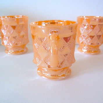 vintage coffee mugs / fire king vintage mugs / anchor hocking mugs / vintage glass mugs / peach lustre mug / kimberly / diamond / vintage