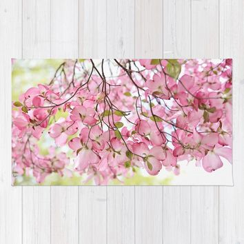 pink dogwoods Rug by Sylvia Cook Photography