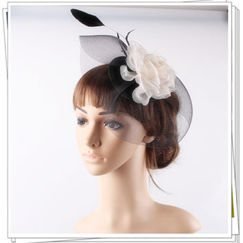 High quality black and ivory fascinator headwear satin base with crinoline silk flower cocktail hats occasion hair accessories