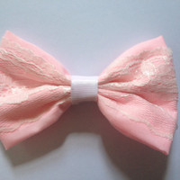 Fairy Kei Pastel Pink Lace Hair Bow Hairbow Cute White Floral Lacy Pastel Goth Sweet Lolita Decora Handmade Kitsch Kawaii Harajuku