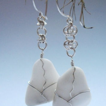 Wire wrapped Sterling Silver Howlite earrings chainmaille handmade pattern for stone lover