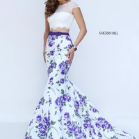 Sherri Hill Multi Print Taffeta Dress 50421