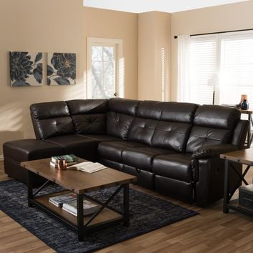 Baxton Studio Roland Modern and Contemporary Dark Brown Faux Leather 2-Piece Sectional with Recliner and Storage Chaise Set of 1