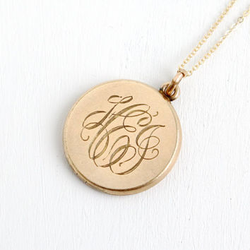 Antique Double Sided Monogrammed Locket Necklace - Gold Filled 1930s 1940s Art Deco Initialed Jewelry With Photograph