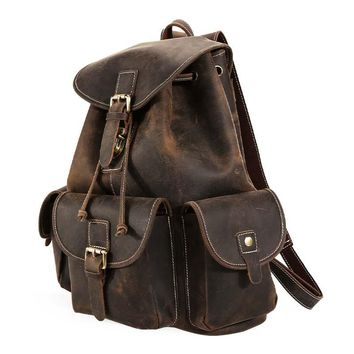 New Luxury Cow Leather Mens Travel Backpack Vintage Soft Solid String Rucksack Overnight Weekend Bag Brown men