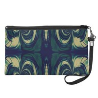 Silky Abstract - Dark Blue, Beige, and Green Wristlet Clutches