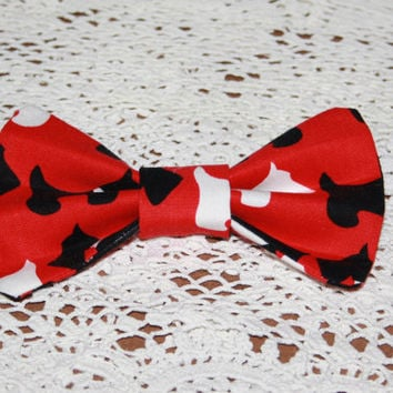 Girls Hair Bow Clip,Red Bow,Fabric Hair Bow,Scotty Dogs