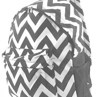 Chevron Print Zig Zag School Travel Backpack (Grey)