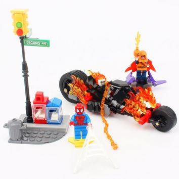 SY841 Super Heroes Spider-Man Ghost Rider Team-UP With Motorcycle Building Blocks Bricks Kids Baby Gift Toys 76058