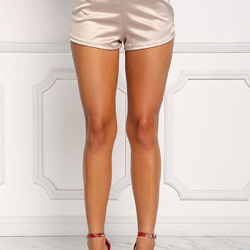 Champagne Silky High Rise Shorts