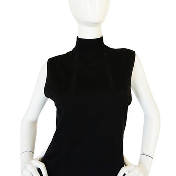 1990s Black Chanel Cashmere & Silk Knit Shell Top