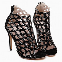 New style women's sexy high heels Hollow Rhinestone Peep toe stiletto sandals ladies Pumps celebrity party platform shoes Black