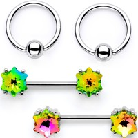 Green Gem Supernova Captive Ring Straight Barbell Nipple Ring Set