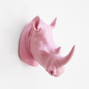 Rhino Head, Faux Taxidermy, Rhino, Gift For Him, Faux Taxidermied, Pink Rhino, Animal Head, African Decor, Green Rhino Head, Hodi Home Decor