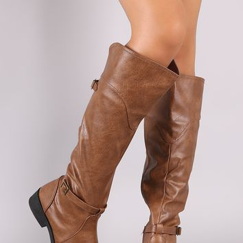Qupid Buckled Strap Riding Knee High Boots