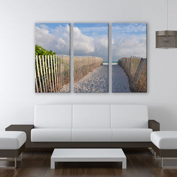 Miami Sandy Beach Canvas Print 3 Panels Print Wall Decor Fine Art Nature Photography Repro Print for Home and Office Wall Decoration