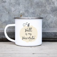 Fall Is My Favorite Camp Mug | Fall Pumpkin Camping Mug | Pumpkin Metal Mug | Fall Rustic Enamel Mug | Fall Coffee Camp Mug