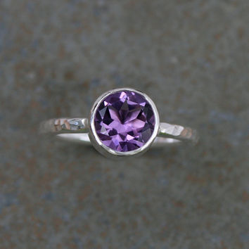 Radiant Orchid Amethyst Ring, Sterling Silver, Faceted Gemstone, Violet Jewel, Hammered Ring Band, Single Stacking, Lavender Purple