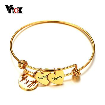 Vnox Name Engraving Charms Bracelet Bangle for Women Gold Color Stainless Steel Female Jewelry Personalized Mother's Day Gift
