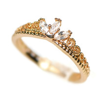 Gold Plated CZ Dainty Princess Crown Ring