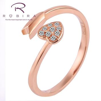 Robira Female Heart Diamond Ring Fashion 18K Rose Gold Jewelry Vintage Wedding Rings For Women Birthday Stone Gifts