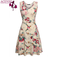 ACEVOG Brand 2016 Summer dress Women Sexy 1950s Lady Elegant Print Casual Floral Sleeveless Dress Sundress Feminino Vestidos