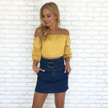 Golden Hour Crop Top in Mustard