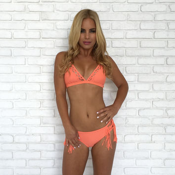 Cross Me Bikini Set In Coral