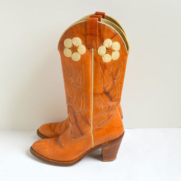 Amazing Flowered Applique Tan/Brown Acme Cowgirl Boots Size 6.5M