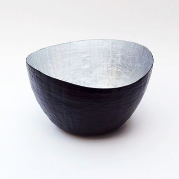 Paper Mache Vessel in Black and Silver - The Wavy - Made to order