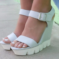 Serena Gray Platform Ridged White Bottom Wedge Sandals
