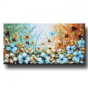 GICLEE PRINT Art Abstract Painting Blue Flowers Poppies Floral Canvas Prints Select Sizes to 60""
