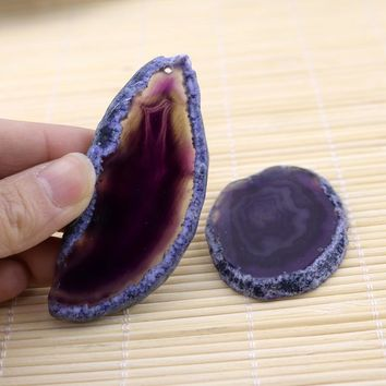 Purple Dyed Color Drusy Pendant Druzy Geode For Jewelry Making # Natural Stone Slice Pendant