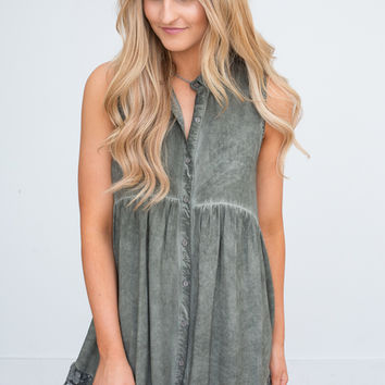 Button Down Sleeveless Tunic - Olive