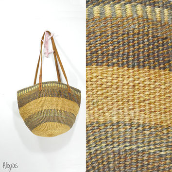 Sisal Market Bag • Striped Wicker Bag • African Bag • Weaved Purse Tote • Vintage 1980s • Leather Strap • Bohemian Tote • Vintage Purse