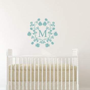 Nursery Monogram Damask Frame Style B Girls Room Vinyl Wall Decal 22509