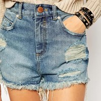 ASOS High Waist Denim Shorts in Clapton Mid Wash with Side Splits and Rips
