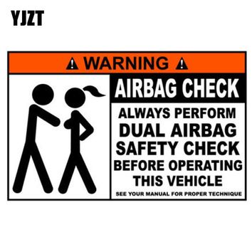 YJZT 15.5x9.6cm Funny WARNING Airbag Check Decal Bumper Car Sticker Retro-reflective Decals C1-8121