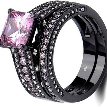 Black Wedding Ring Set Princess Cz Created Pink Sapphire 925 Sterling Silver