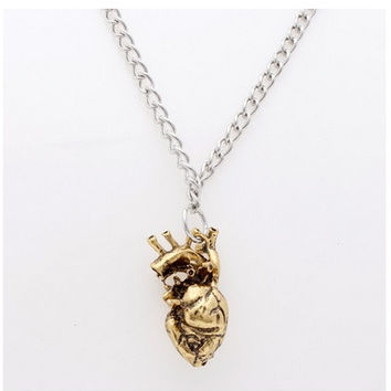 Fashion Vintage Various colour Filigree Heart Organ Anatomy Charms Choker Chain Statement Necklace for men and women = 1669287236