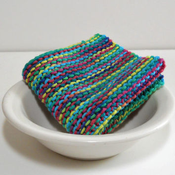 Hand Knit Cotton Dishcloth in Blues, Greens and Pink,  Large Hand Knit Cotton Washcloth, mix and match to make a custom set