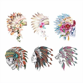 Colorful Chief Skull Head Iron On Patches Washable Thermal Transfers Stickers DIY for Men White Tshirt  Grade A  Appliqued