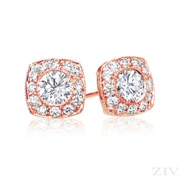 Ziva Rose Gold Diamond Studs with Square Halo