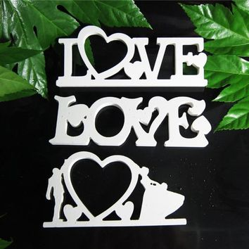 Conjoined letter Photo frame  LOVE Home Decor Wedding Decoration Home Decor Wood Wooden White Letters Alphabet Wedding Birthday