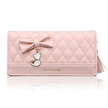 Nawoshow Womens faux leather Coin Purse Cat Bowknot Wallet with Tassel Zipper