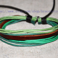 Real Leather Cotton Ropes Woven Men Leather Jewelry Bangle Cuff Bracelet Women Leather Bracelet  CP56