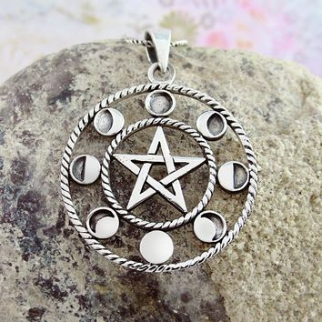 Pentacle With Phases of the Moon Necklace