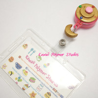 Sailor Moon inspired Transformation Brooch Student/Nurse/work ID badge reel and Holder